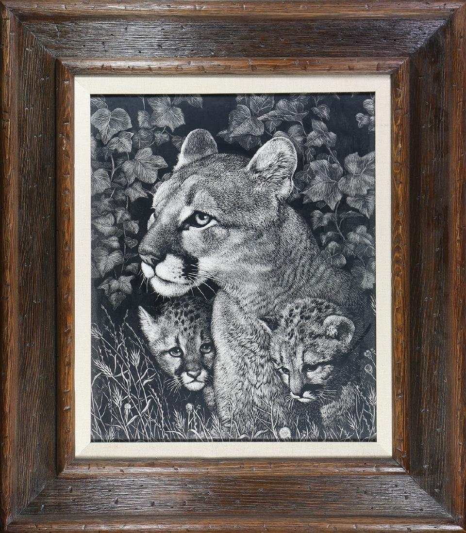Print, Daniel C. Toledo, Mountain Lion and Cubs