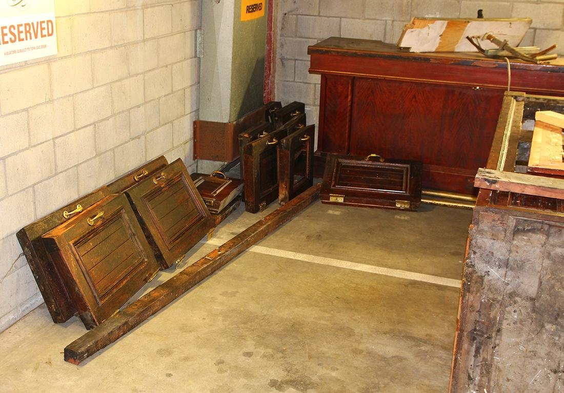 (lot of 3)  Victorian mahogany and leaded glass bar, - 15