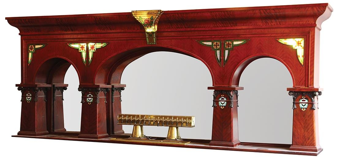 (lot of 3)  Victorian mahogany and leaded glass bar,
