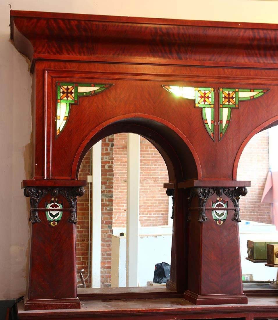 (lot of 3)  Victorian mahogany and leaded glass bar, - 2
