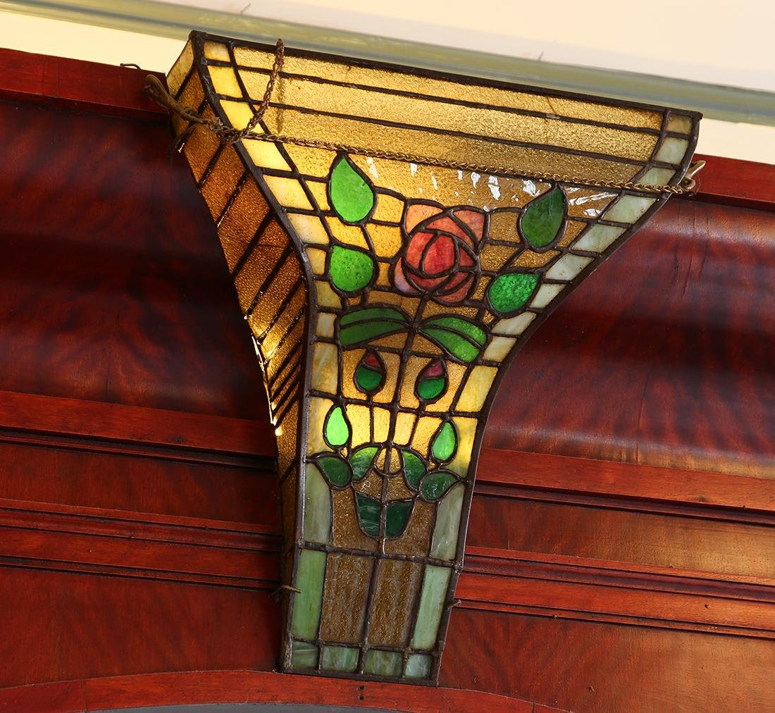 (lot of 3)  Victorian mahogany and leaded glass bar, - 6