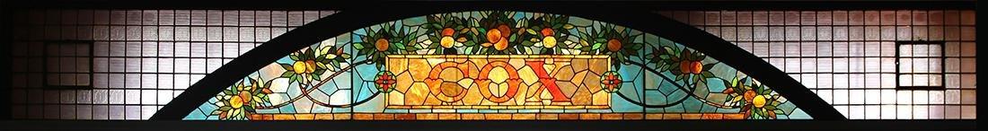 Cox leaded glass panel, circa 1900, having polychrome
