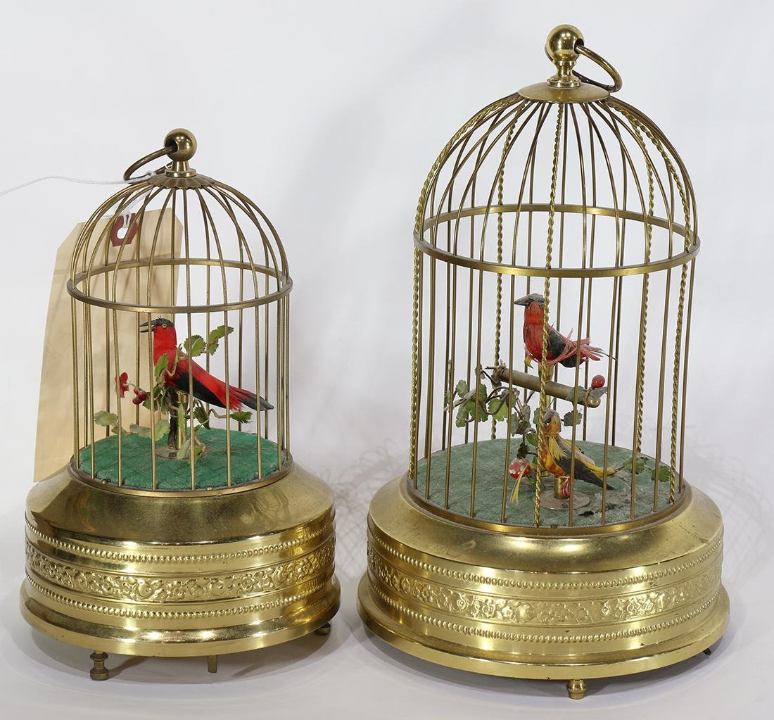 (lot of 2) Musical mechanical automaton birdcages, each