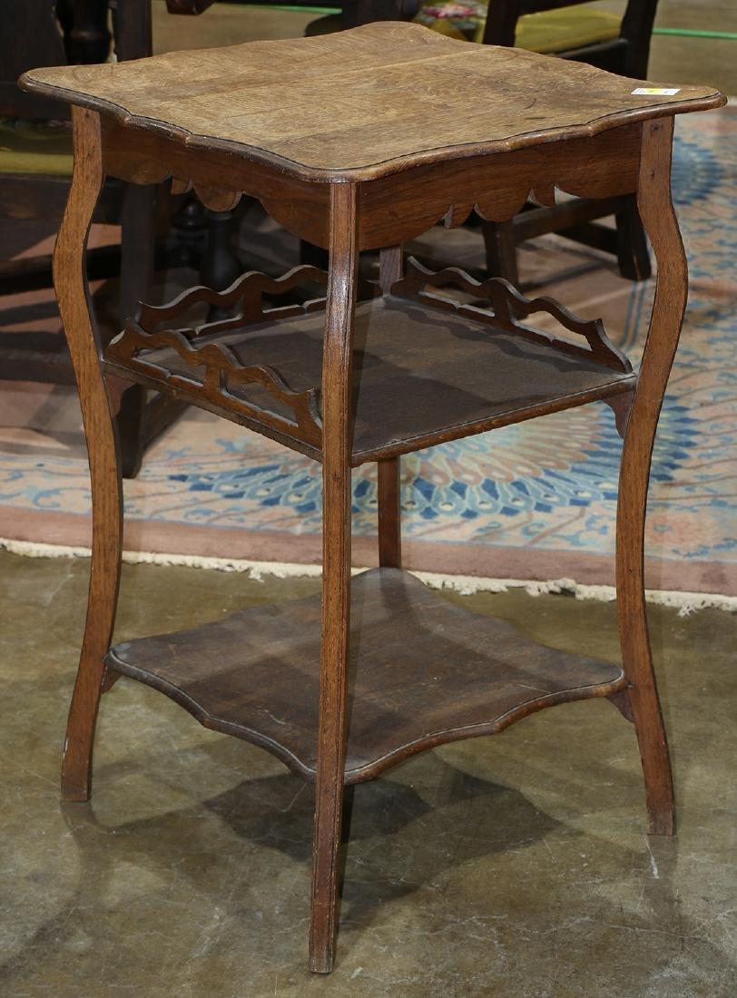 American quartersawn oak occasional table, the scallop