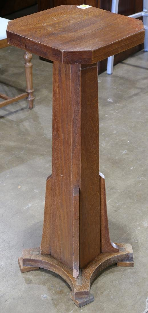 Mission style quartersawn oak plank stand