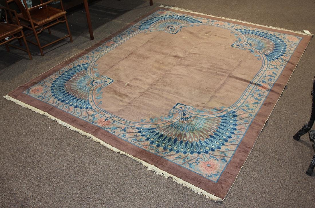 """Chinese Art Deco carpet, with peacock pattern, 9'10"""" x"""