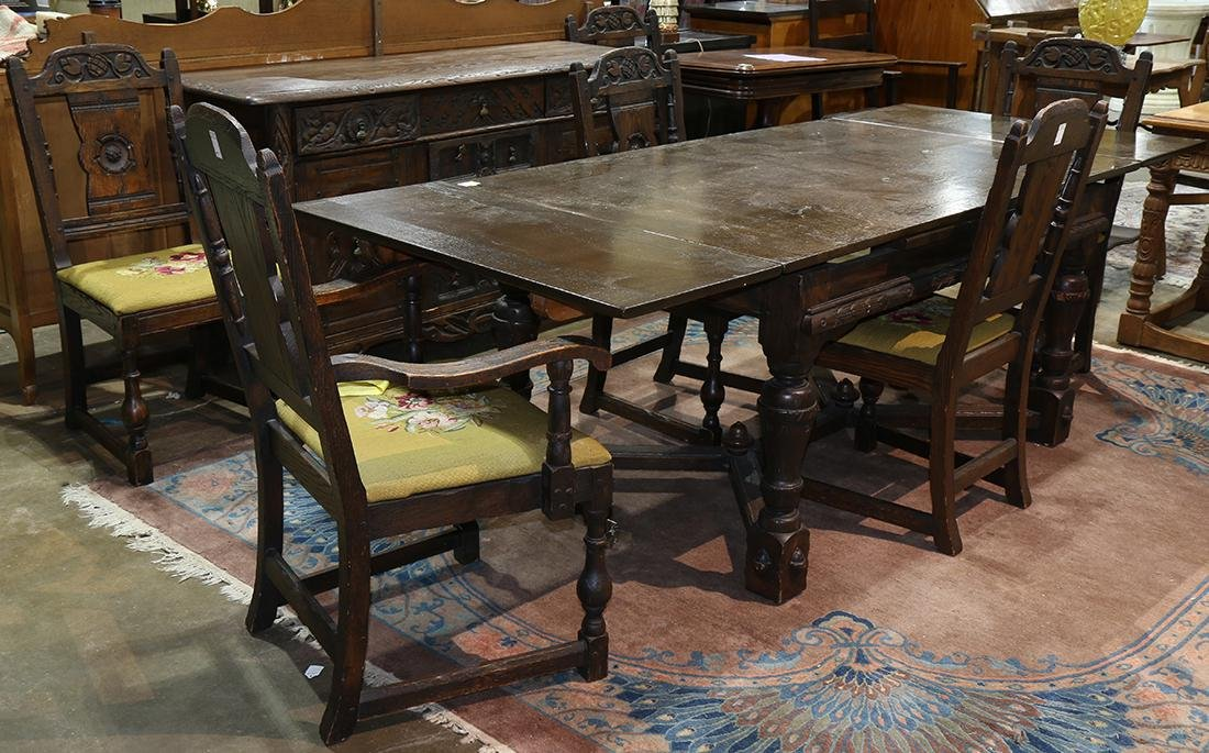 (lot of 8) Jacobean style dining room suite