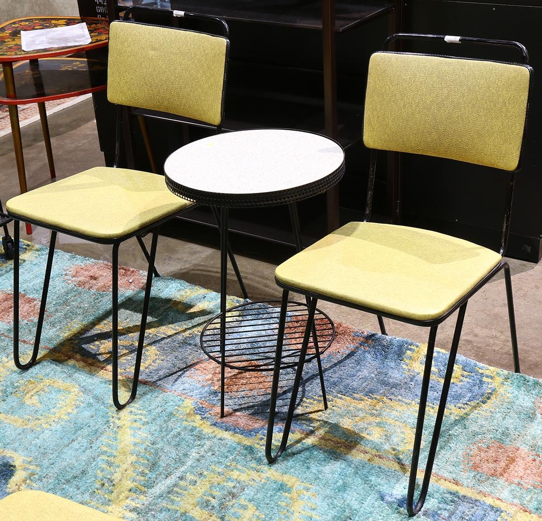 (lot of 7) Mid-Century furniture group, including metal