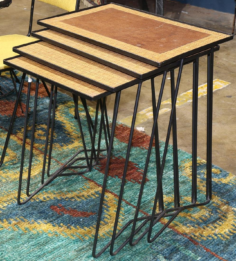 (lot of 4) Mid Century iron nesting tables