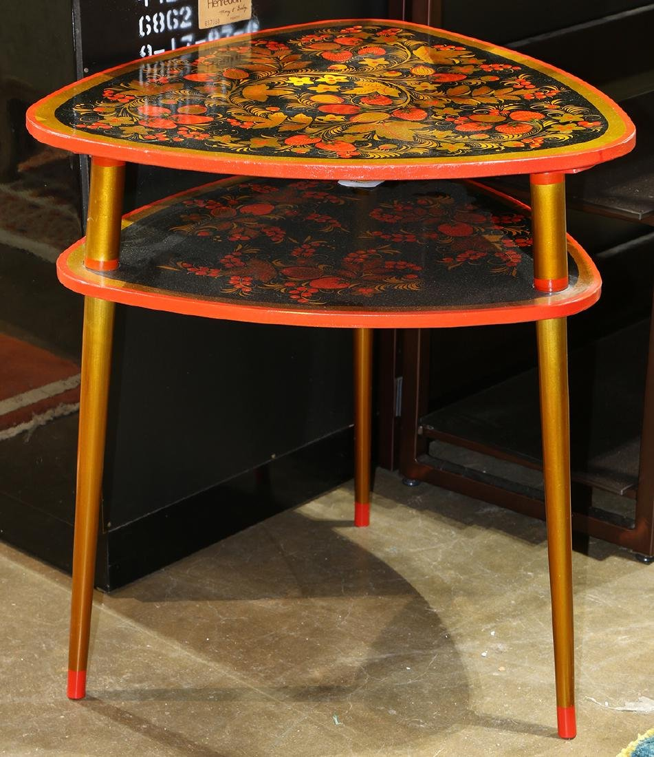 Russian lacquered two tier side table, having a