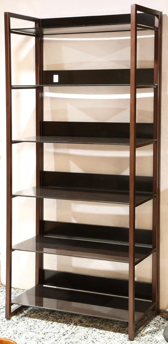 Metal etagere, having brown metal frame, with (6) glass