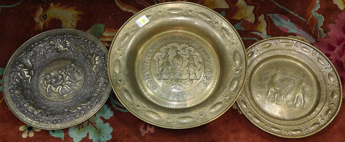 (lot of 3) Brass charger group, each relating to wine,