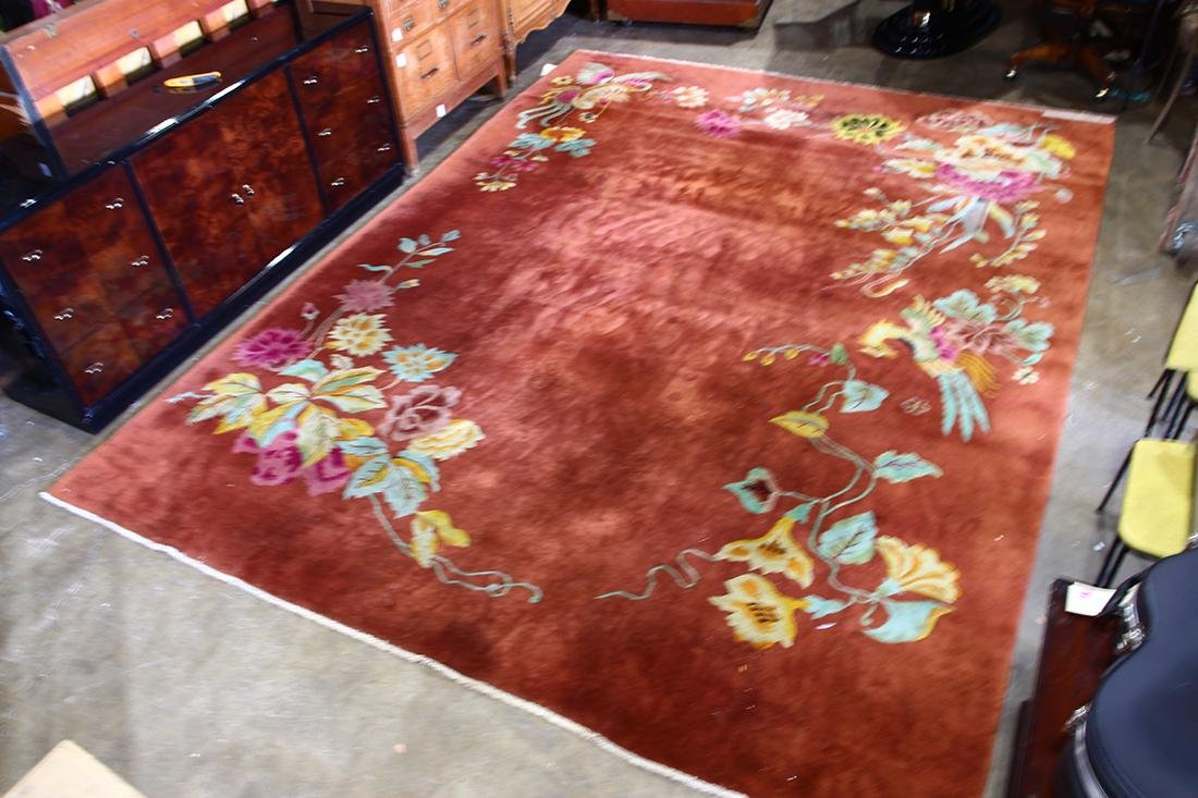 Chinese floral decorated carpet