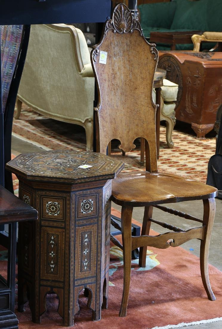 (lot of 2) Moroccan Levantine inlaid tabouret table