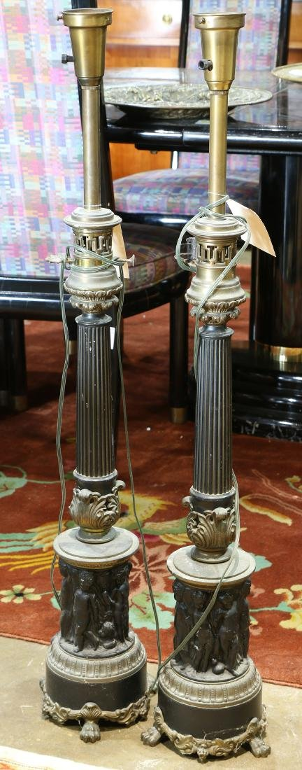 Pair of Neo-Classical style table lamps, the bronze and
