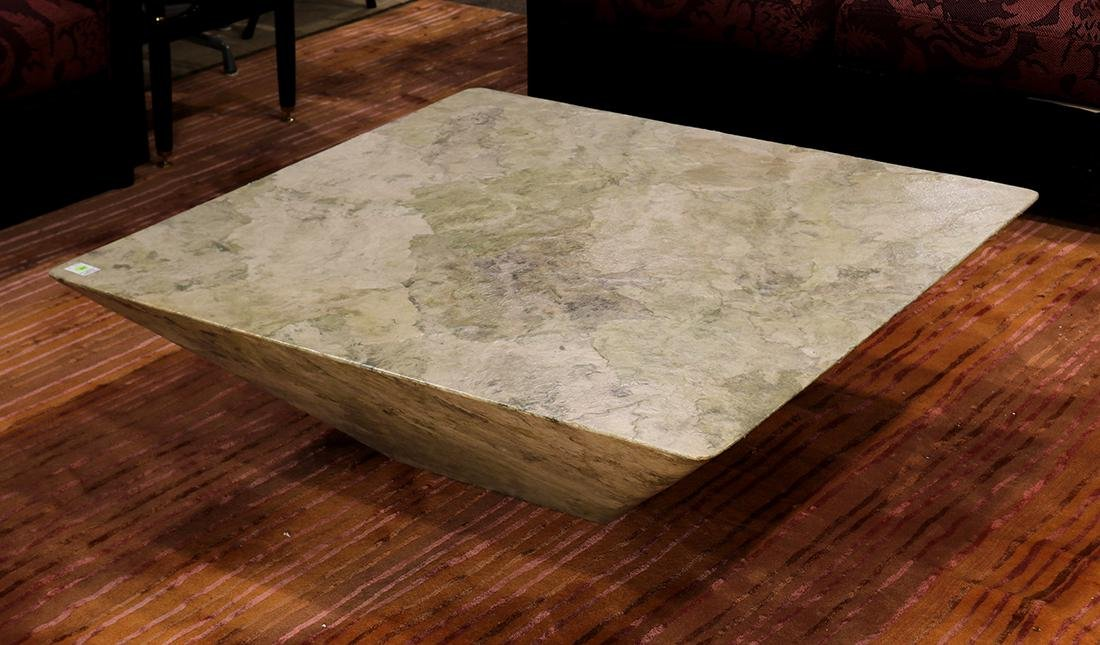 Custom designed Fossil cocktail table, executed by the