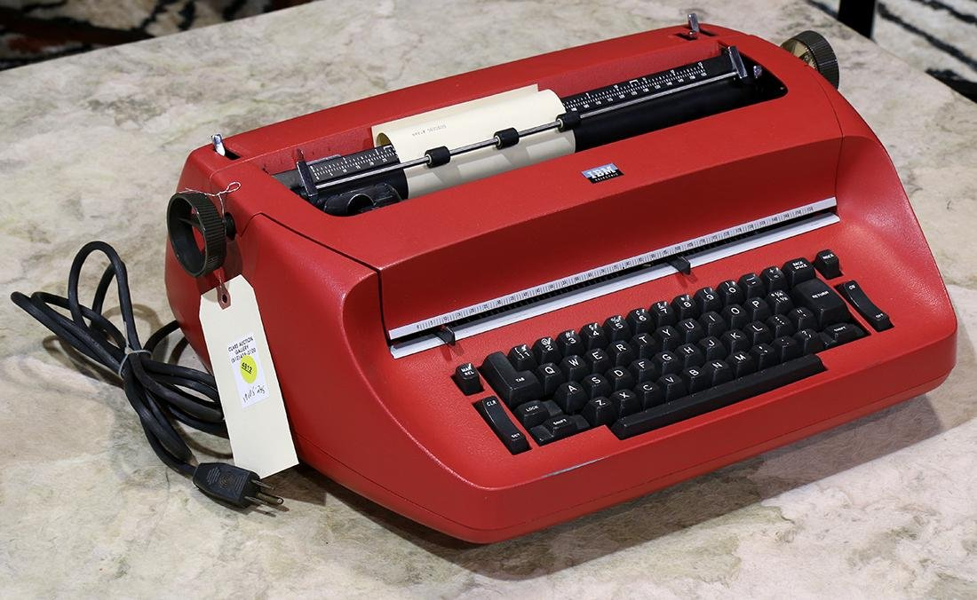 IBM Selectric electric typewritier, 1969, having a red