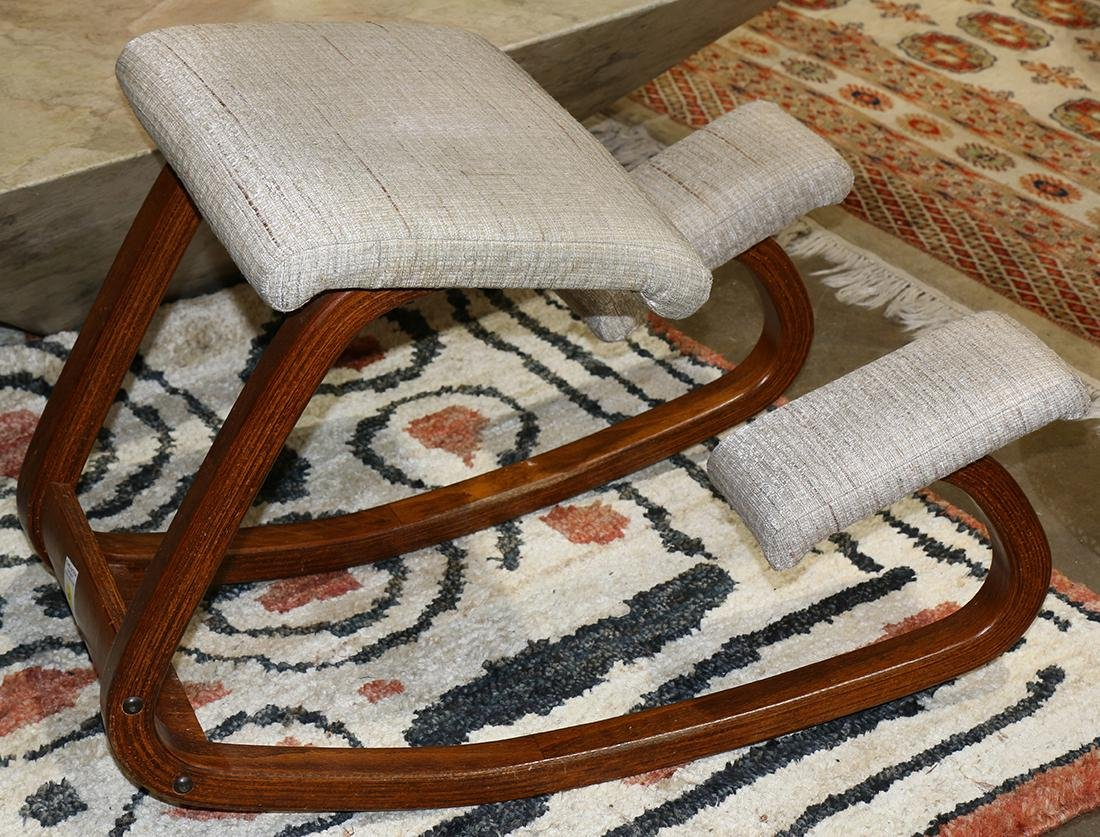 Kneeling chair, circa 1990, having a oblong frame with