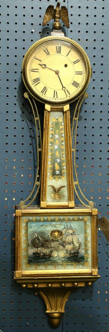 American Federal style banjo clock, the reverse painted