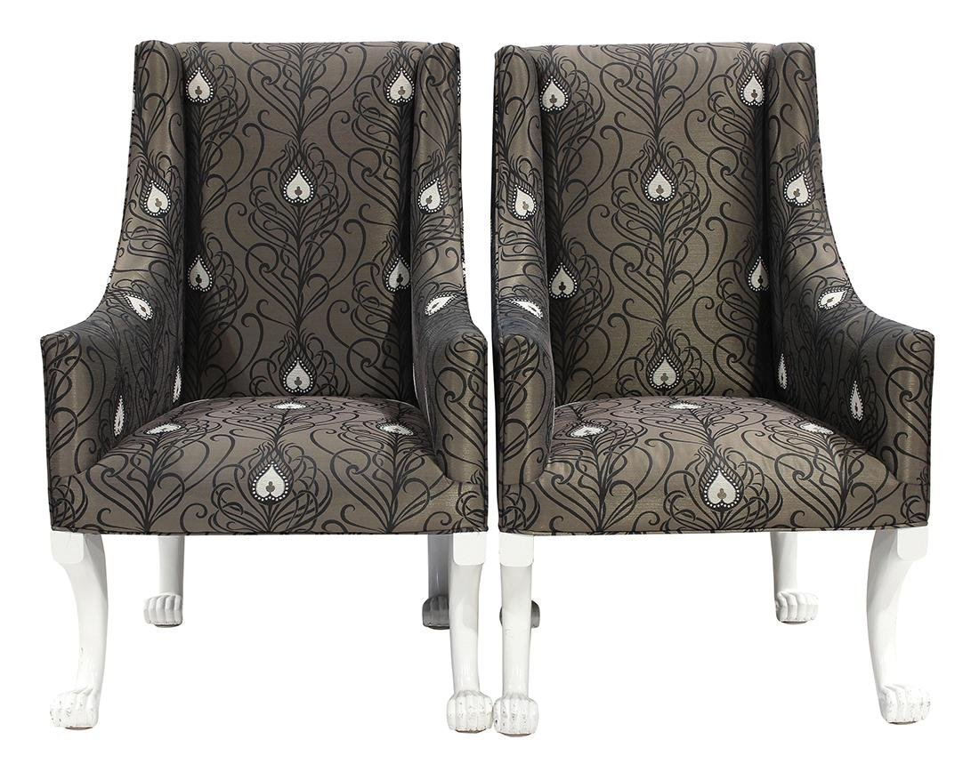 Pair of Moderne wing back armchairs