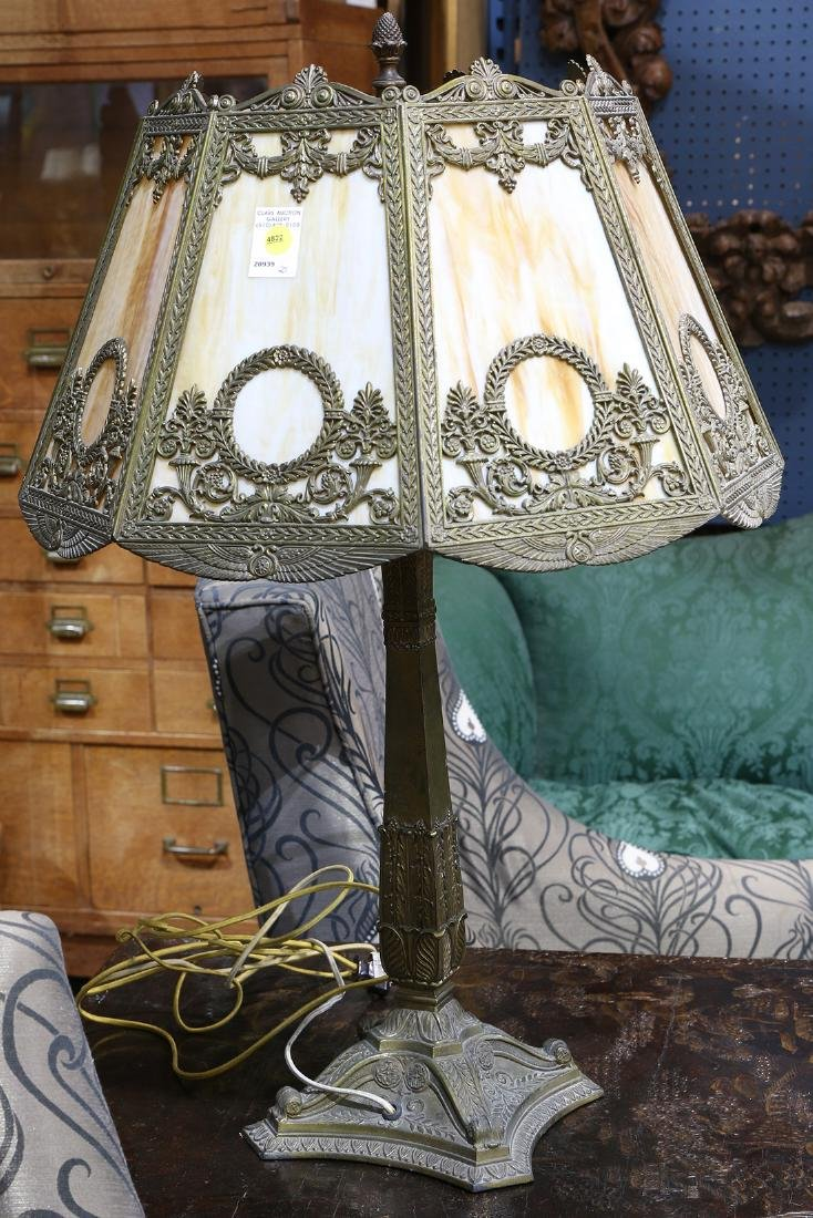 Arts and Crafts metal overlaid slag glass table lamp - 2