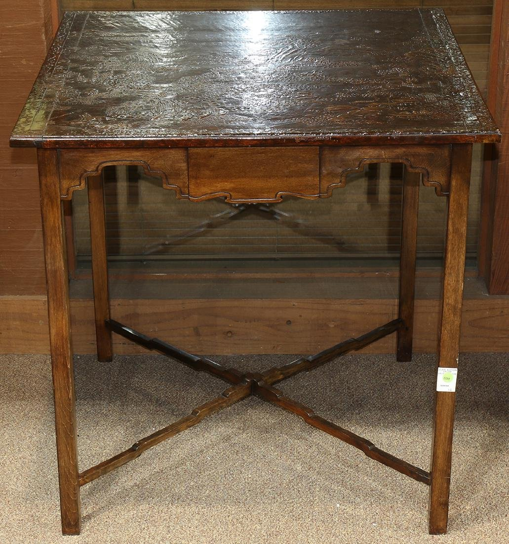 Chinoiserie decorated games table, having a rectangular