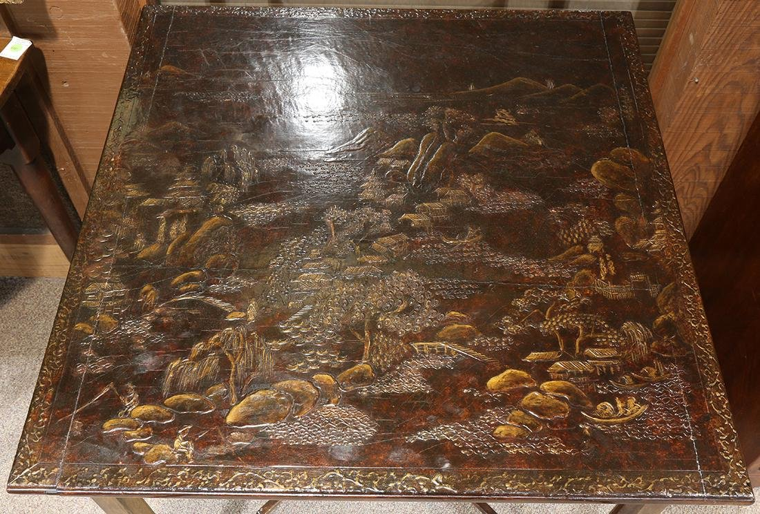 Chinoiserie decorated games table, having a rectangular - 3