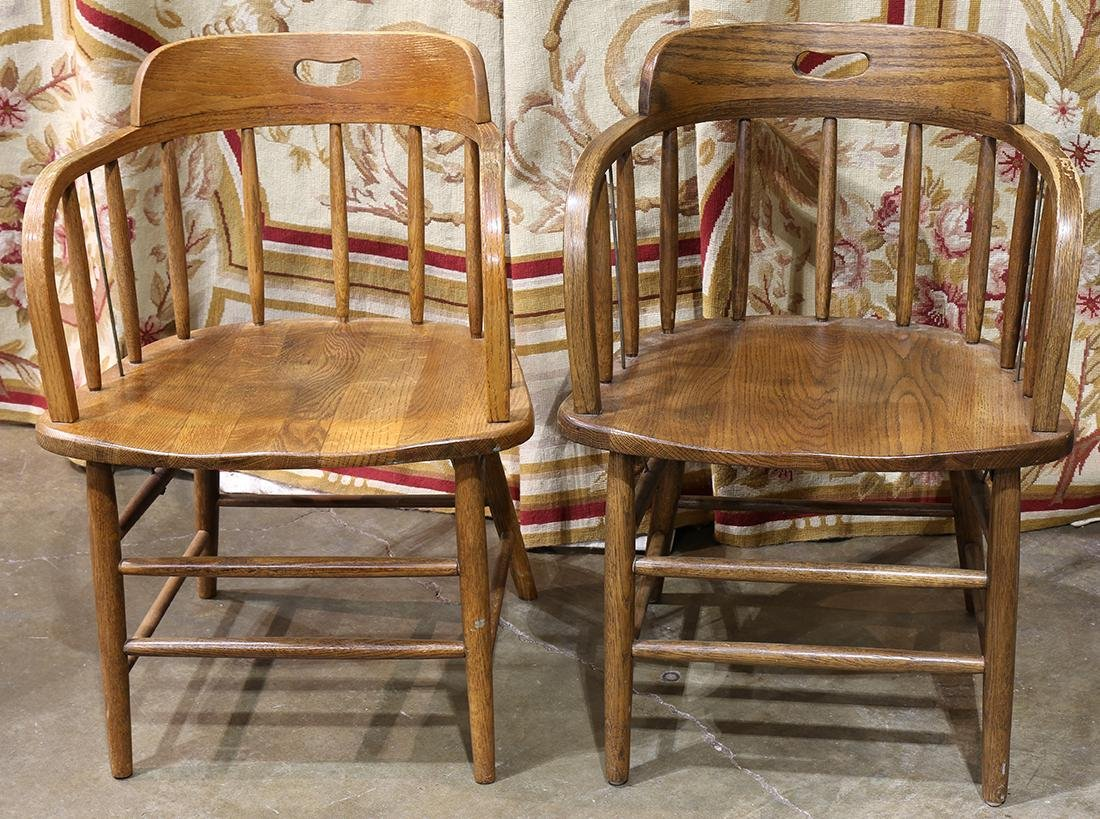 Pair of spindle back oak pub chairs