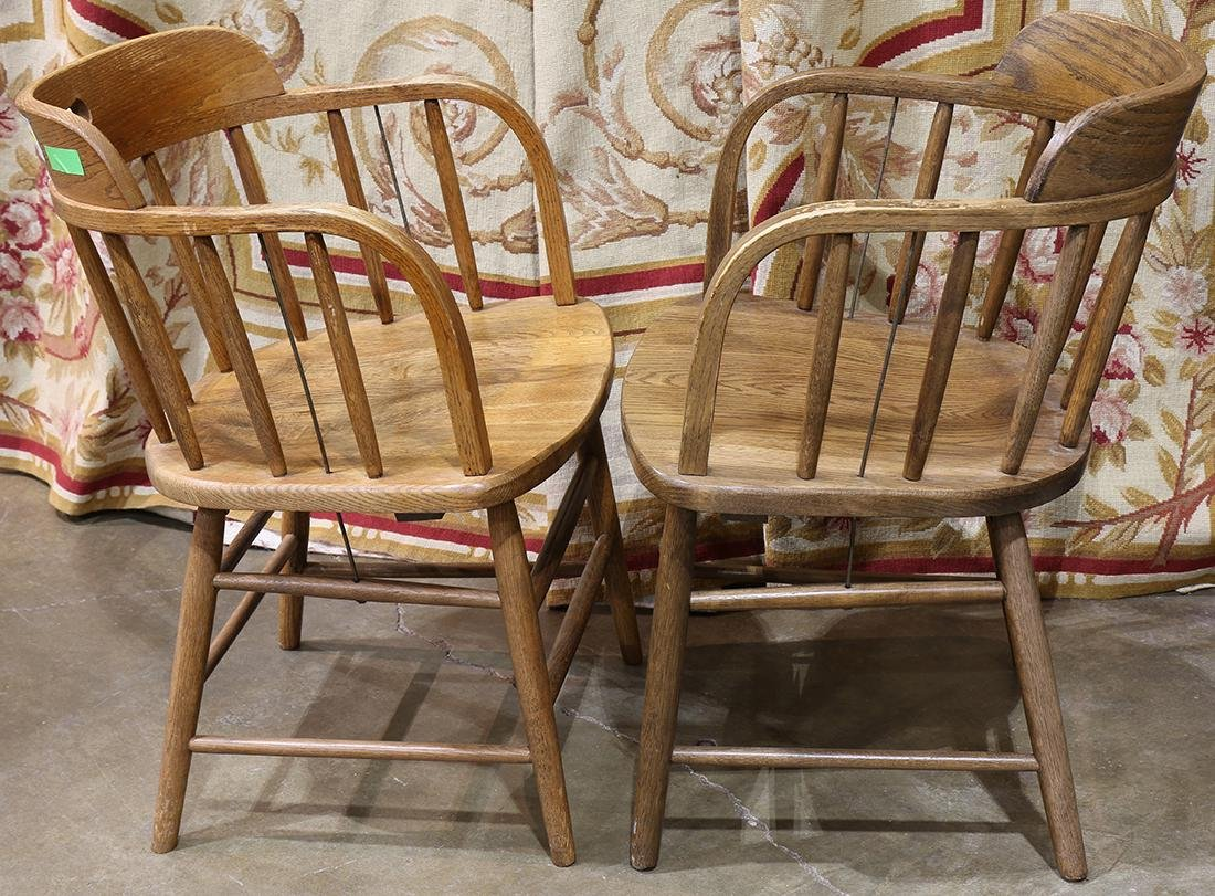 Pair of spindle back oak pub chairs - 2