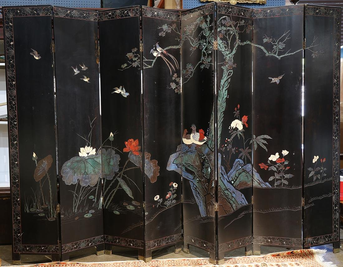 Chinese Coromandel 8 panel screen, polychrome and