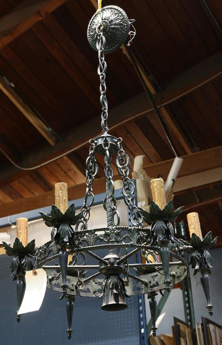 Gothic Revival chandelier, the pierced circular