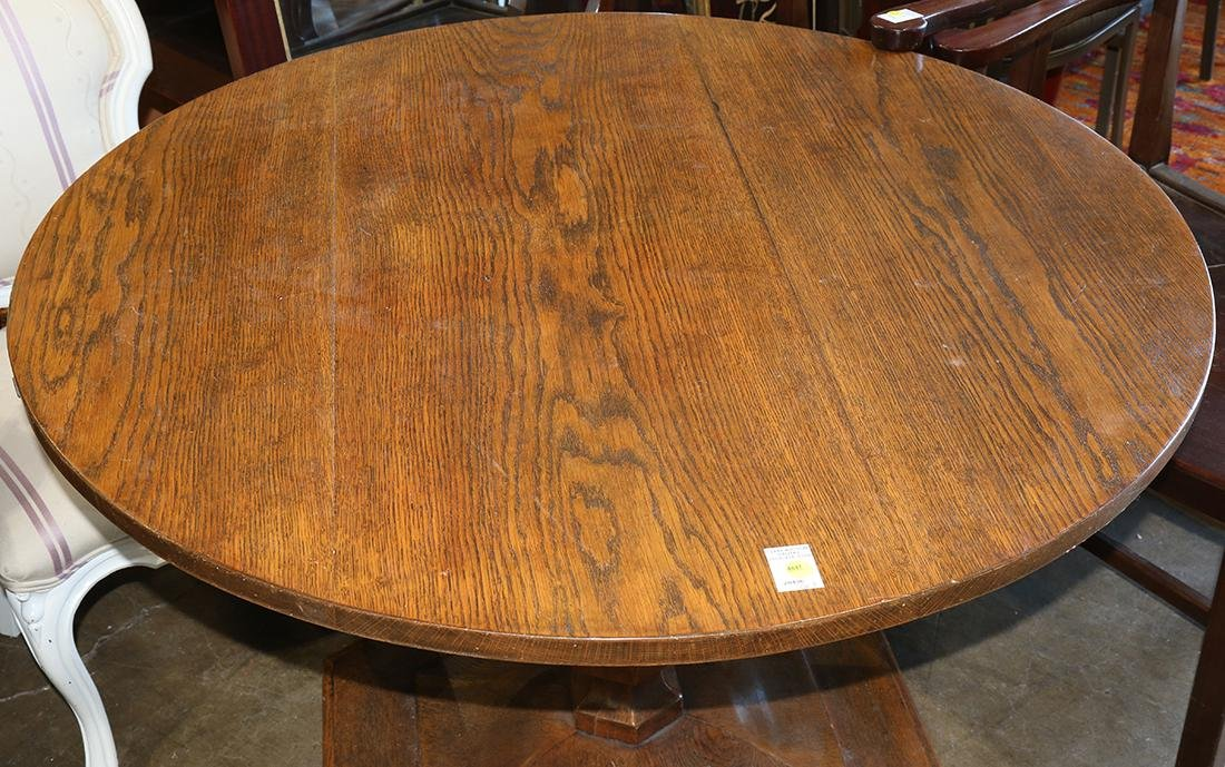 Arts and Crafts style oak circular dining table, rising - 2