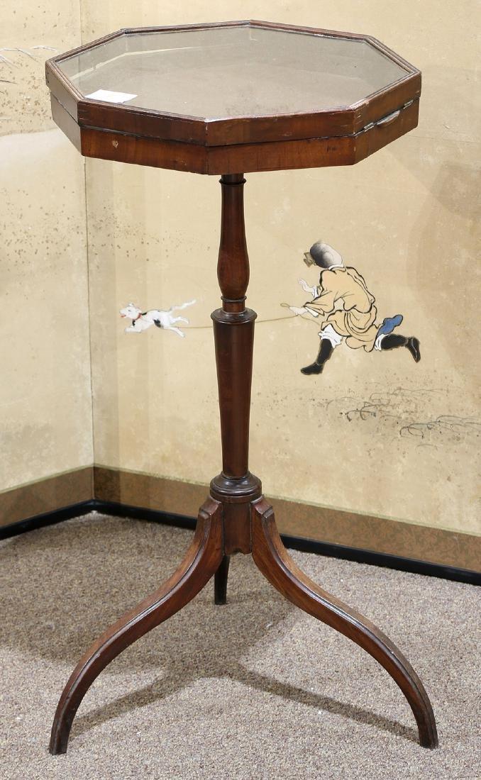 Regency style mahogany table vitrine, having an