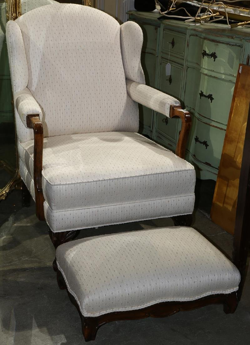 (lot of 2) Queen Anne style  wing back armchair and