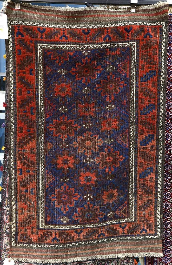 """Afghan Belouch carpet, 3' x 4'7"""""""