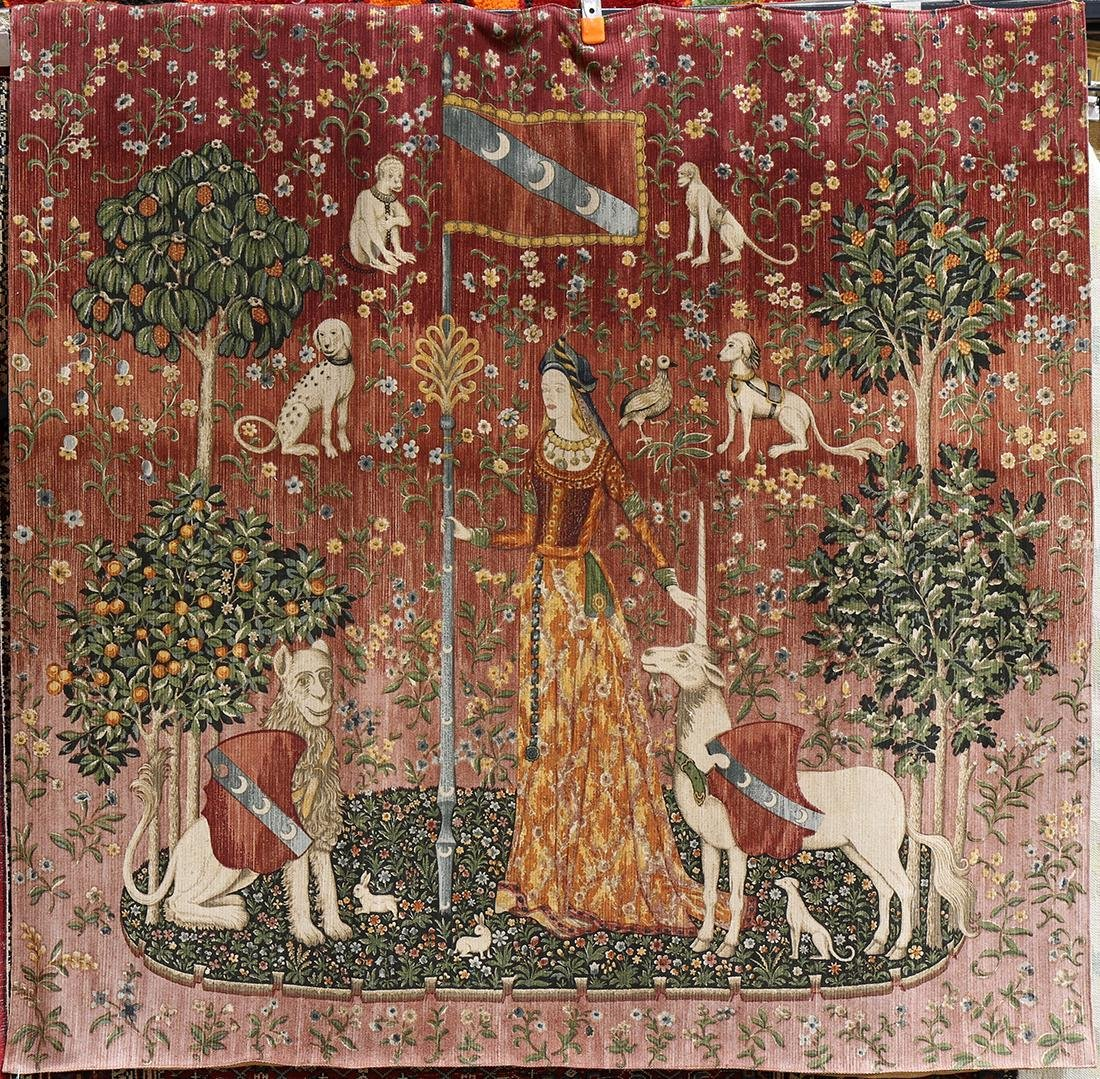 Flemish style tapestry, depicting woman with