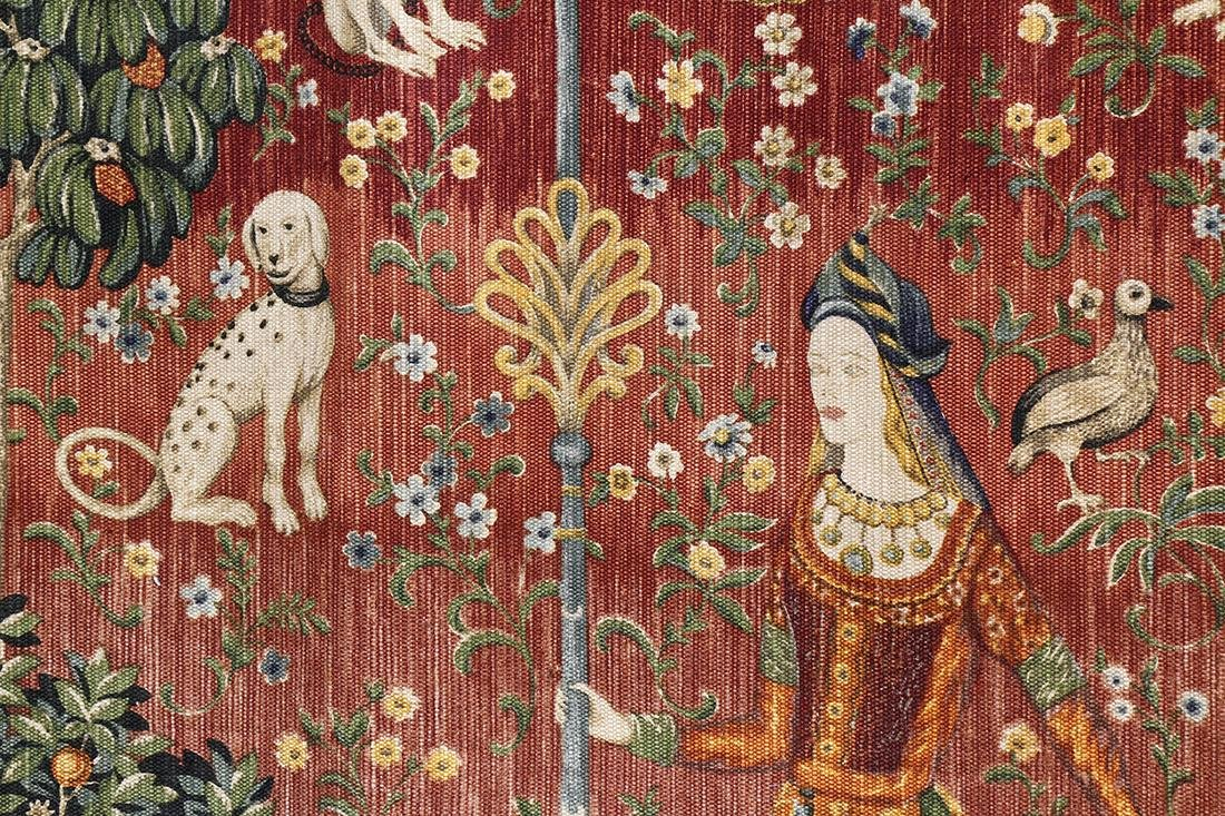 Flemish style tapestry, depicting woman with - 2