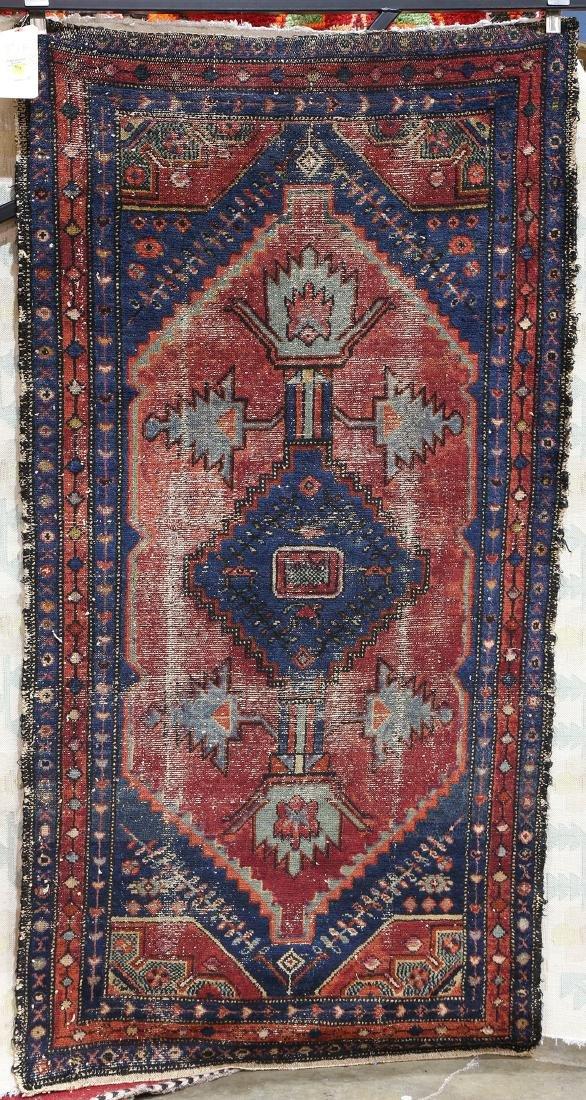 "Kurdish carpet, (wear)  6'1 x 3'2"""