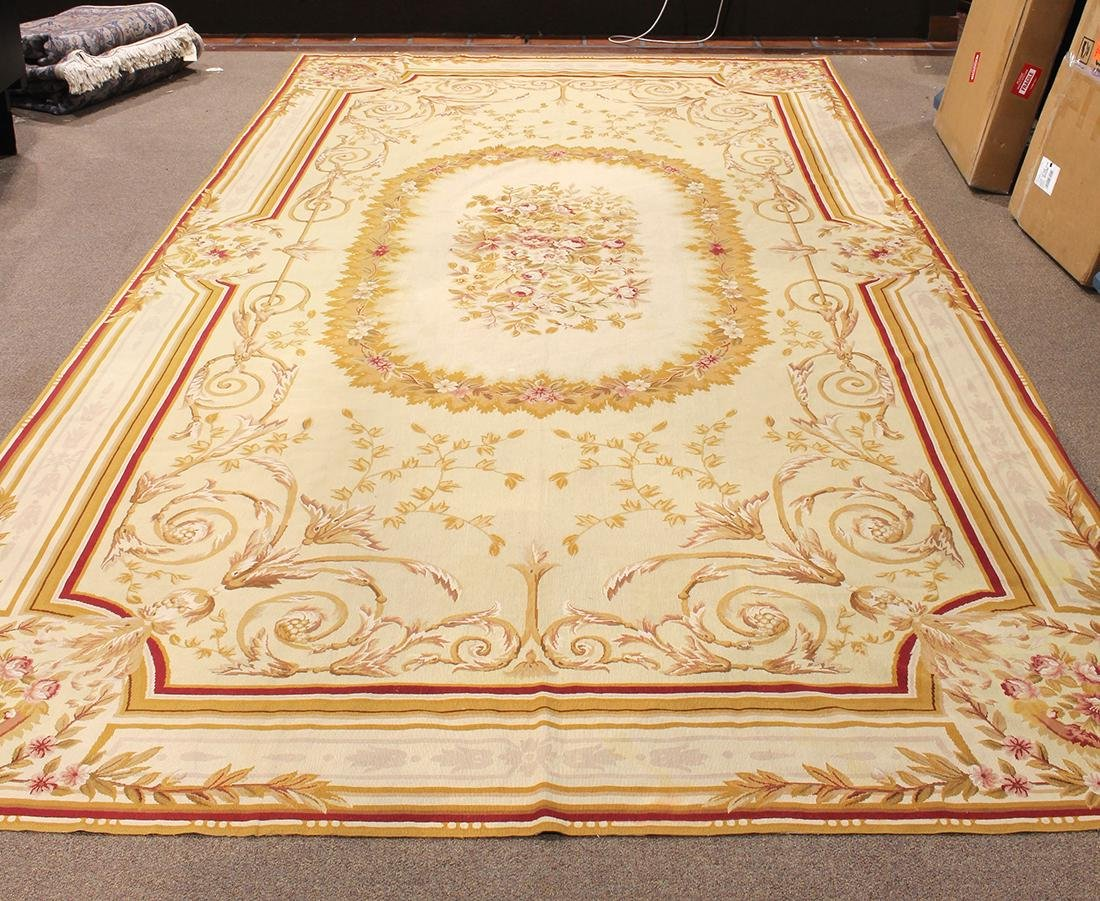 """Chinese Aubusson style carpet, 18'6"""" x 9'2"""""""