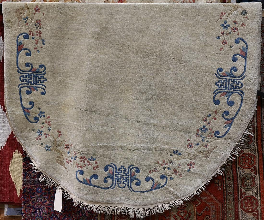 Chinese oval sculpted carpet, 8' x 5' - 2