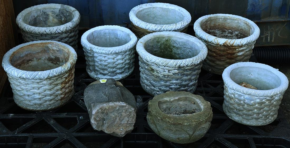 (lot of 8) Group of concrete basket form planters
