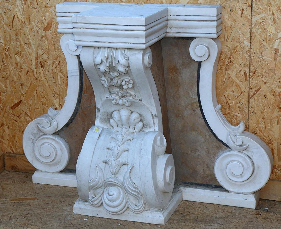 Italian carved marble console table base