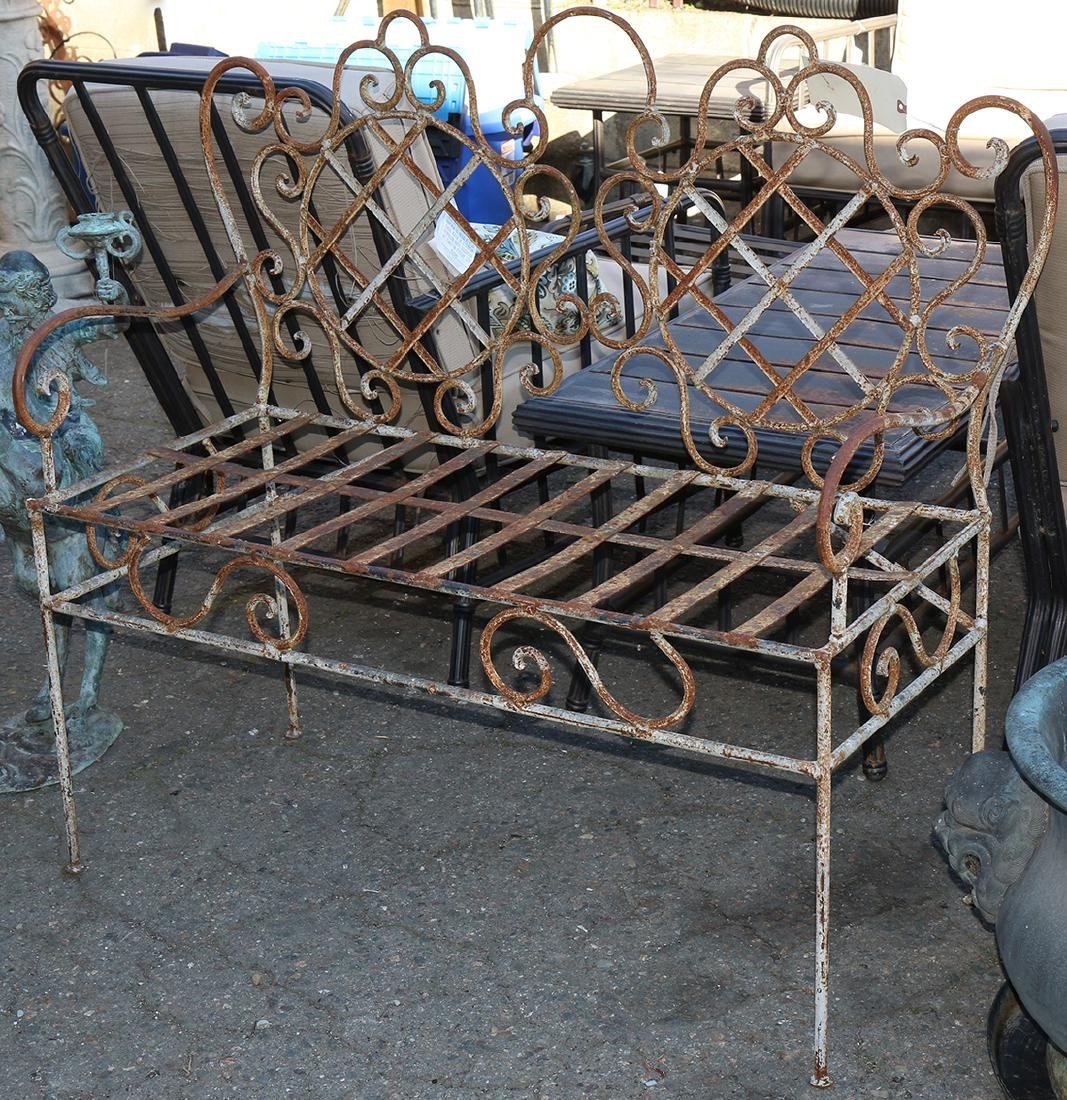 French bistro style wrought iron bench