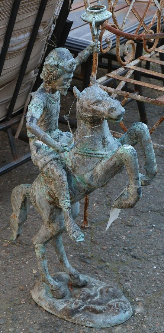 Chinese Archaistic patinated metal figural sculpture