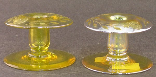 13: American art glass candlesticks