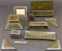26 Arts  Crafts HAMS bronze desk set