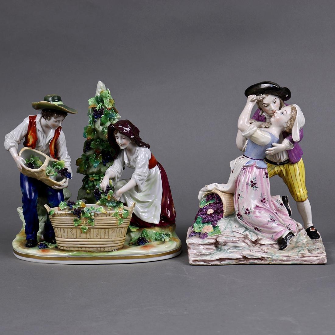 (lot of 2) Continental porcelain figural sculptures,