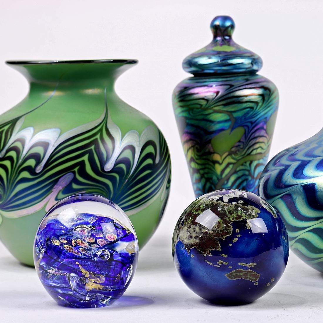 (lot of 5) Lundberg studios art glass group