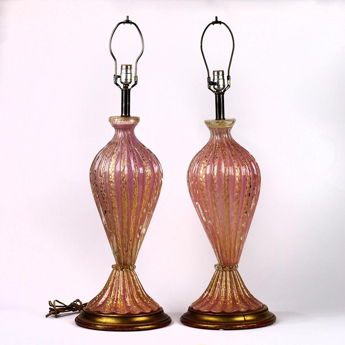 Murano Barovier and Toso pair of lamps