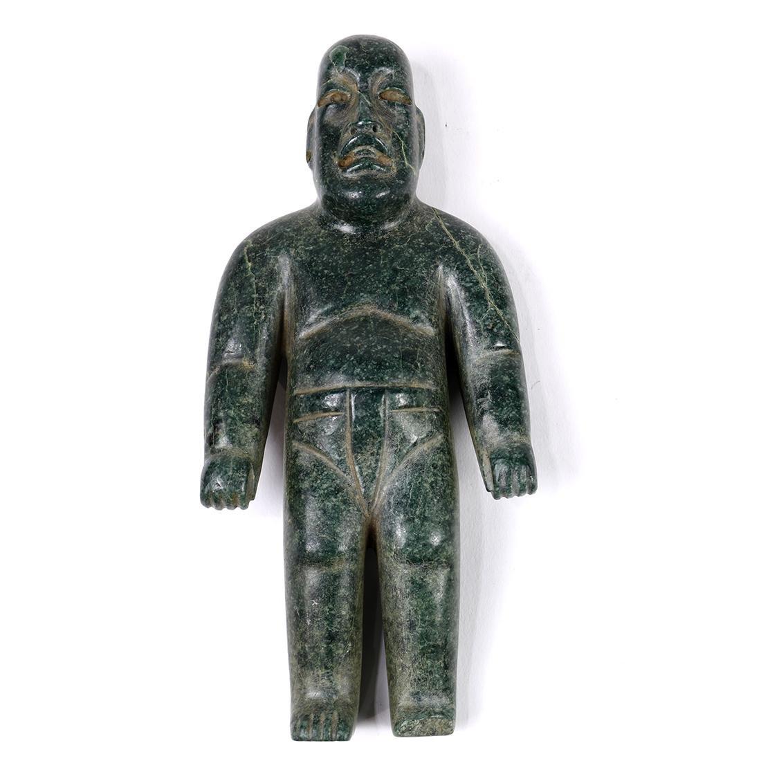 Pre-Columbian or Olmec style jade figure, depicting a